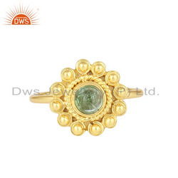 Green Tourmaline Gemstone Gold Plated Designer Silver Rings