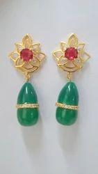 Green Glass Stone Earring