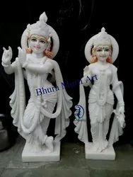 Pure White Marble Radha Krishna Statue