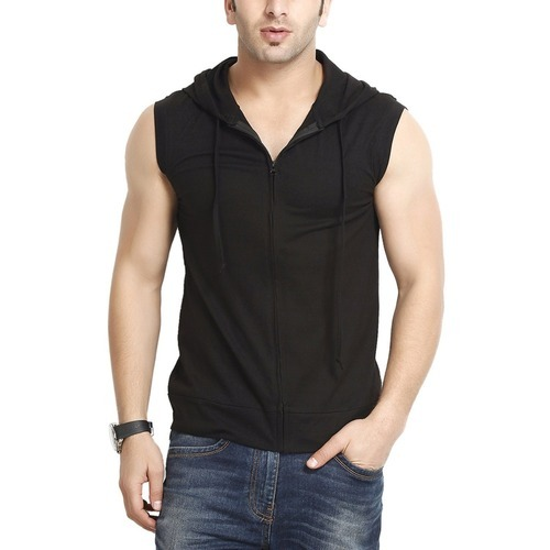 bbb56b40c56 Black L And XL Men Hooded Cotton Zipper Jacket - Sleeveless, Rs 250 ...