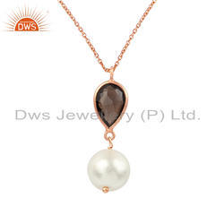 Smoky Quartz Pearl Rose Gold Plated Silver Chain Pendant, Size: 16 Inch