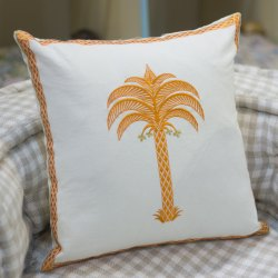 Palm Tree Embroidery Cotton Cheap Cushion Cover