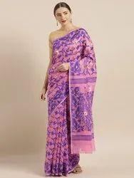 Pink & Blue Silk Cotton Woven Design Jamdani Saree