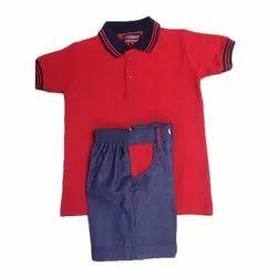 Red and Blue Cotton Kids Plain School Uniform Set, Size: 16-28