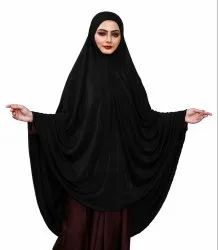 Stitched Ready To Wear Long Plain Chaderi Hijab For Women (Black)
