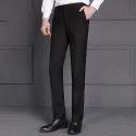 Mens Cotton Black Formal Pant, Size: 28-38