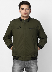 Army Green Solid Collar Jacket