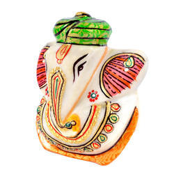 Marble Ganesha Idol with Turban 3 inch