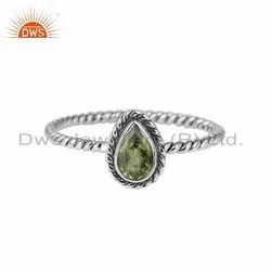 Peridot Gemstone Womens Oxidized Sterling Silver Rings