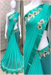 Georgette Light Blue Saree