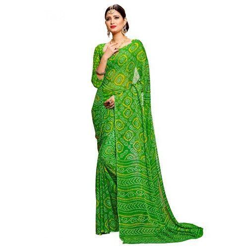 091224b4fc Chiffon Green Bandhani Saree With Blouse Piece, Saree Length: 5.5 M ...