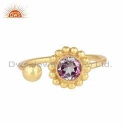 Pink Topaz Gemstone Flower Adjustable Gold Plated 925 Silver Rings
