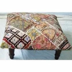 Embroidered Mirror Worked Ottoman