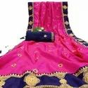 Latest Designer Sana Silk Saree With Embroidered Work