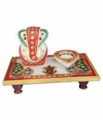Marble Ganesha with Diya
