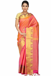 Hand Woven Orange Kanchipuram Pure Silk  Sarees