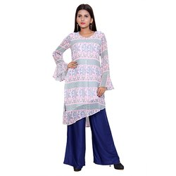 White And Blue Crepe Kurti