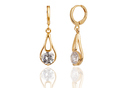 Oval Accent Brass Drop Earring