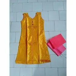 net Anarkali Sleeveless Party Wear Suit, Machine wash