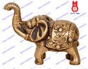 Golden Brass Elephant Carved Trunk Up