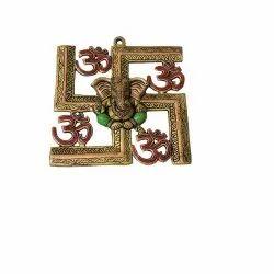 Brass Om Ganesha Swastik Wall Hanging