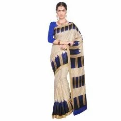 Beige &  Blue Colored Art Silk Printed Casual Saree