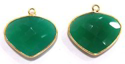 Green Onyx Heart Shape Charm Bezel Connectors