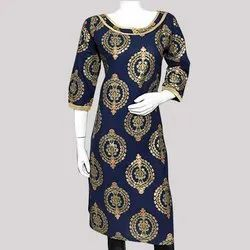 Cotton Gold Printed  Kurti