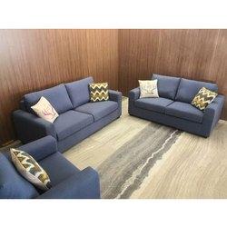 Wooden Designer Fabric Sofa Set, Seating Capacity: 5 Seater