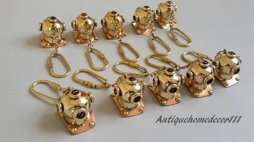 LOT OF 10 KEY RING SCUBA DIVING MINI DIVERS HELMET SOLID BRASS KEY CHAIN GIFT,,,