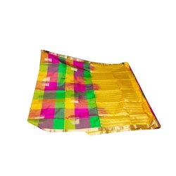Festive Wear Printed Multicolor Silk Saree, Machine Made, 6.3 m (with blouse piece)