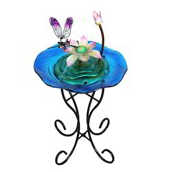 Pink Lotus And Dragonfly Glass