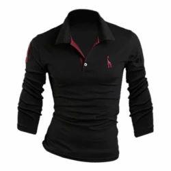 Men Cotton Black Collar T Shirt, Size: S-XXL