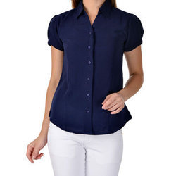 Half Sleeve Plain Ladies Formal Shirt