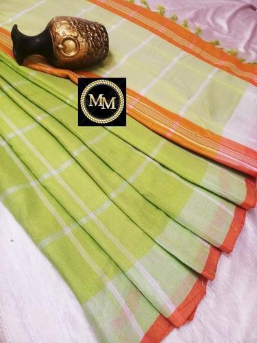 81119b795e2033 Silk Plain   Checked Linen Saree With Running Blouse And Lines Pallu ...