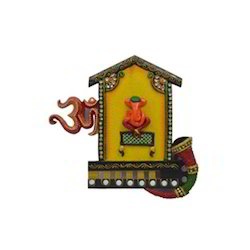 Wooden & Paper Mache Om Shahnai Ganesha with Kundan Work
