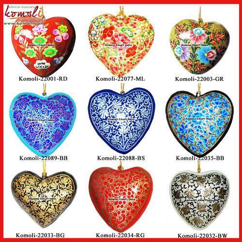 Christmas Heart Decoration.Christmas Ornament Heart Decoration Paper Mache Custom Design
