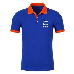 Mens Cotton and Polyester Blue Corporate Polo T-Shirt, Size: S to XXL