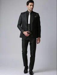 True Blue Men Black Self Design Single Breasted Formal Suit