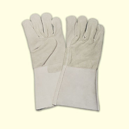Beige 10 - 12 Inches Half Leather Canvas Gloves