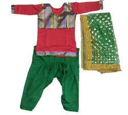 Bhangra Dress For Girl (Red Kurta and Green Salwar)