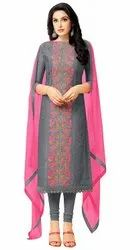 Women's Charcoal Heavy Chanderi Embroidered Unstitched Salwar Suit Material