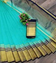 Thankar Multicolor Latest heavy Tusser Silk Saree, 6.3 m (with blouse piece)