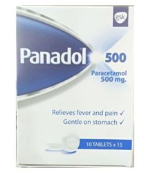 Tablet Panadol Paracetamol 500mg, Packaging Size: 10 Tablets Per Box, Dose: 1