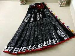 Cotton Pom Pom Block Printed Black Sarees