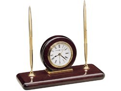 Double Pen Stand Round Wooden Table Clock