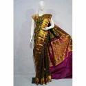Multicolor Half Fine Zari Gold Silk Saree