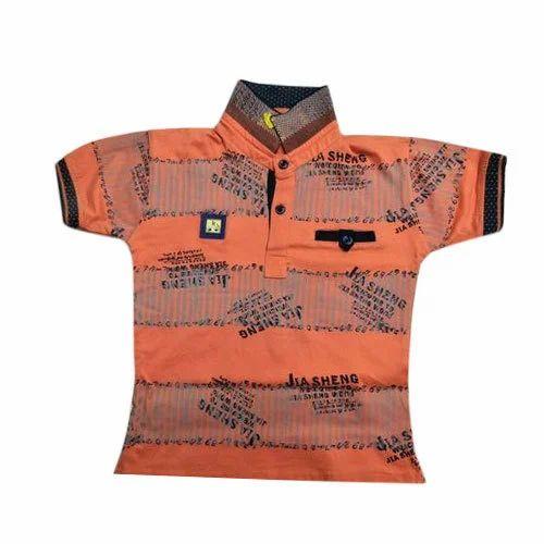 e1721a14b6ed Cotton Printed Orange Baby Boy Collar Neck T-Shirt, Rs 95 /piece ...
