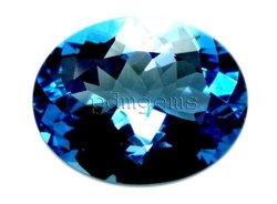 Swiss Blue Topaz Faceted Oval Gemstone