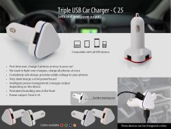 C25  Triple USB Car Charger With Intelligent Power Output